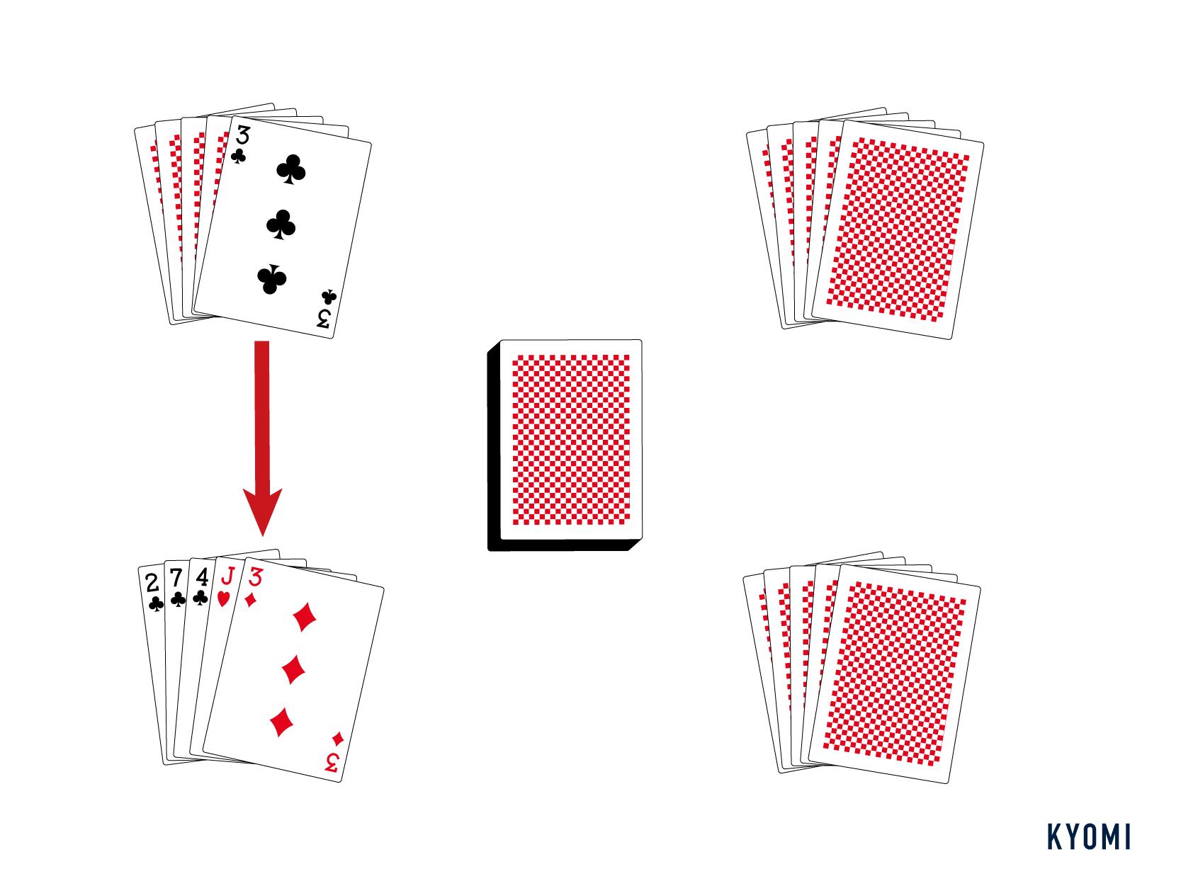 ゴーフィッシュ-図-カードを渡す