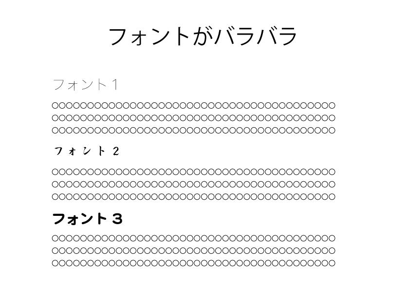 プレゼンスライド例-フォントがバラバラ